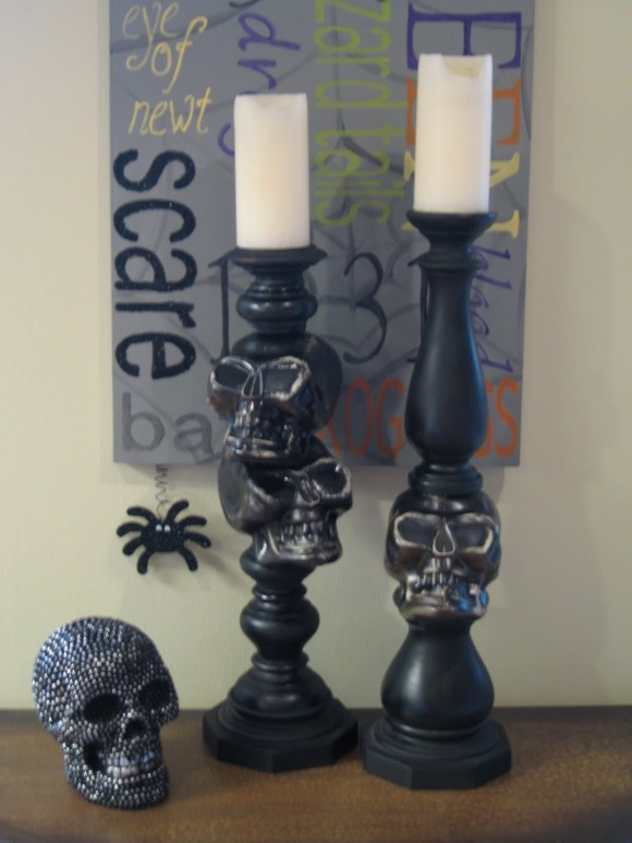 $5 diy skull candlesticks