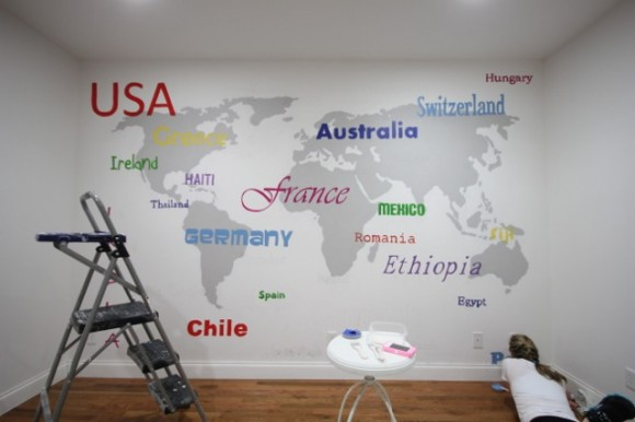 World Map Wall Subway Art