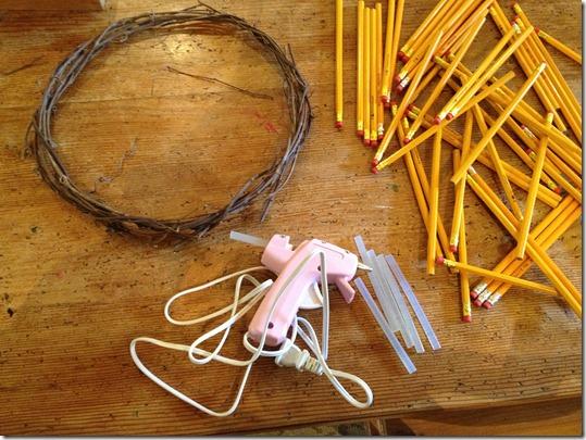 Pencil Wreath teachers' gift