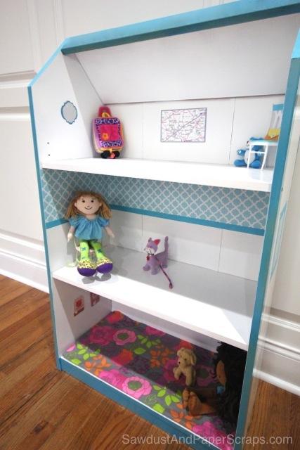 Turn a bookshelf into a dollhouse